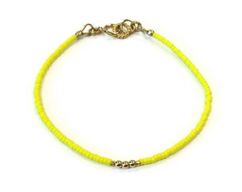 Yellow Beaded Bracelet 24K Gold Vermeil Jewelry Thin Skinny Everyday Jewellery Minimal Layer Bright Colors Fashion Seed Beads Lemon B-328