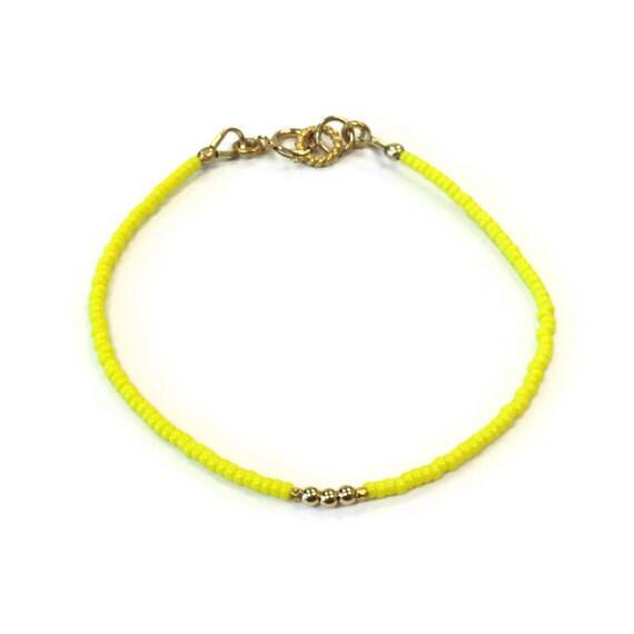 Yellow Beaded Bracelet 24K Gold Vermeil Jewelry Thin Skinny Everyday Jewellery Minimal Layer Bright Colors Fashion Seed Beads Lemon B-328