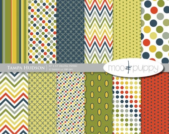 Digital Scrapbook Paper Pack  --  Tampa Hudson -- INSTANT DOWNLOAD