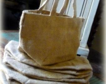 6 Burlap Bag with Handle Flower Girl Basket Favor Bags Gift Bag Rustic Wedding Decor DIY