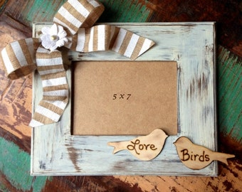 Love Birds Wedding Frame Shabby Chic Decor Rustic Distressed Wood and Burlap 5 x 7 Photo