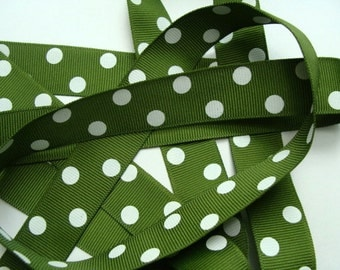 "7/8"" Dotted Grosgrain Ribbon - Old Willow with White Dots"