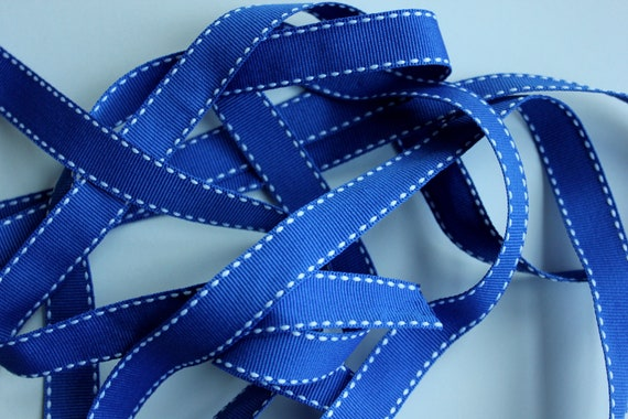 """5/8"""" Side-Stitched Grosgrain Ribbon - Royal Blue with White Stitching - 5 yards"""