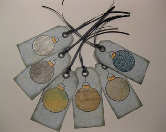 Christmas Ornament Themed Gift Hang Tag Set - Scrapbook Embellishment