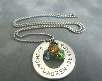 Personalized Mother's necklace, handstamped stainless steel washer with swarovski crystal birthstones