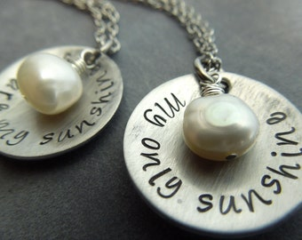 you are my sunshine, my only sunshine hand stamped stainless steel necklace set