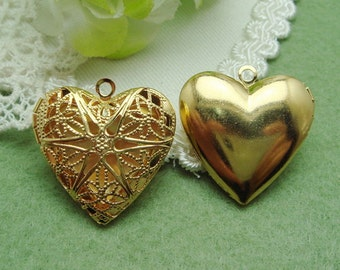 4 Pcs  Gold Plated Brass Cute Heart Locket, NICKEL FREE(LG2501)