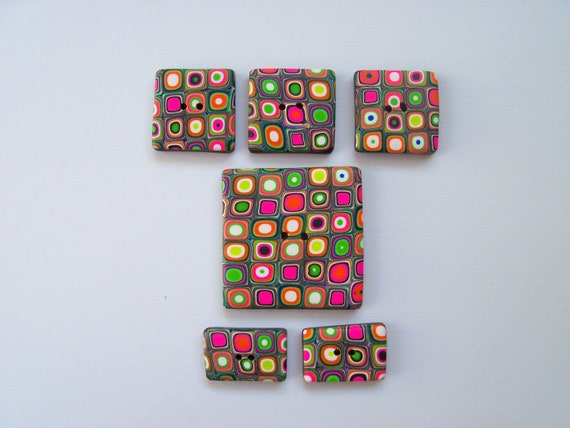Polymer Clay Buttons, square, set of 6, assorted sizes