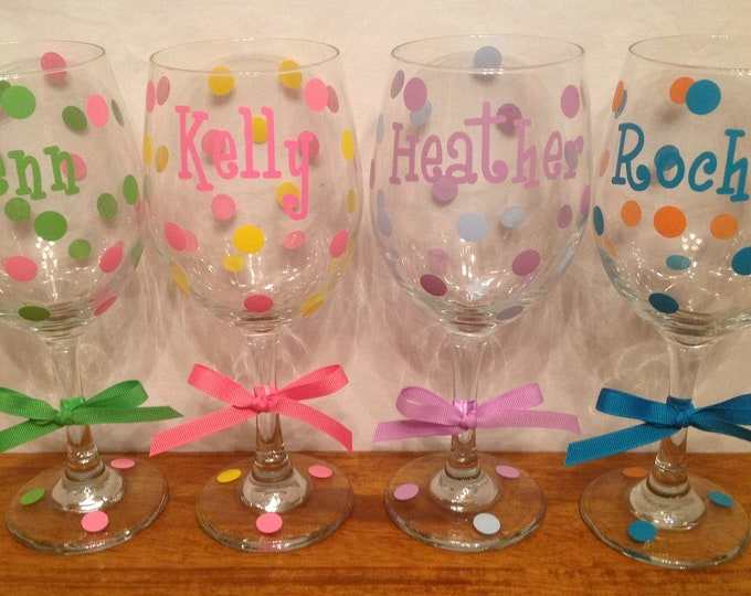 Personalized TALL WINE GLASS Name Initial Monogram Polka Dots great for Bride Bridesmaids Bachelorette Wedding Party or Anyone 20 oz.