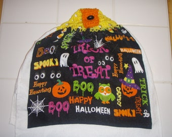 Trick or Treat Crocheted Top Hanging Dish Towel (Double)