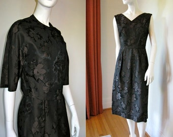 Vintage 1950s 1960s Leslie Fay Floral Brocade Dress Set with Fabric Rosettes Down the Front of Jacket Very Mad Men