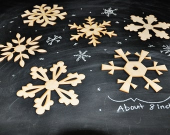 DIY Wooden Snowflake Decorations LARGE set of 6