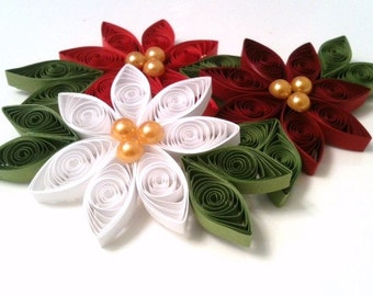 Quilled Ornament Poinsettia Christmas Decoration Set of Three Flowers Paper Quilled Trio