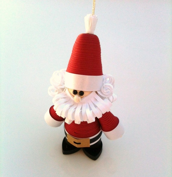 Santa Paper Quilled Ornament in Crimson Red with Curly Beard