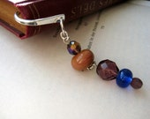 Purple and blue and coral pink bookmark for reading lover - OOAK