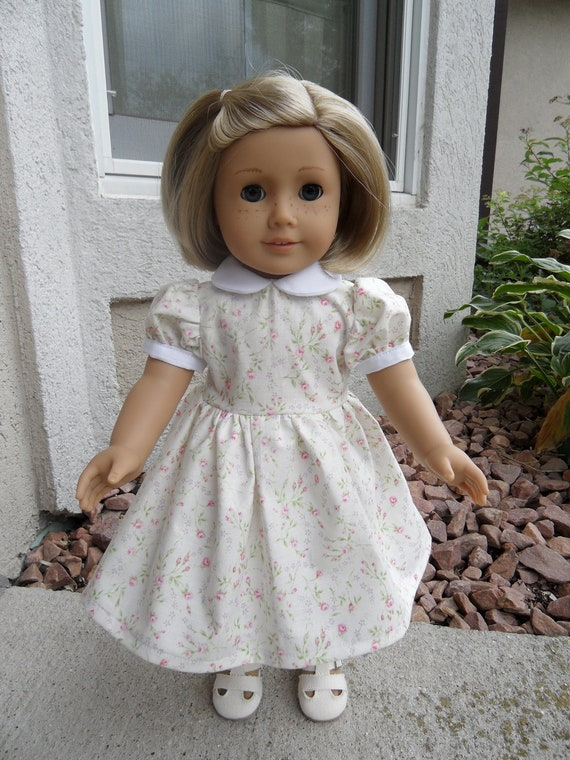 White Floral Dress for Kit or Ruthie or 18 inch doll