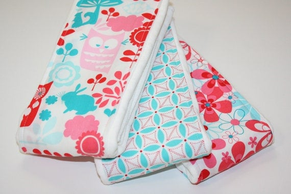 SALE - Baby Burp Cloths - 3-Pack Coordinating - Forest Life Aqua and Watermelon - LAST ONE