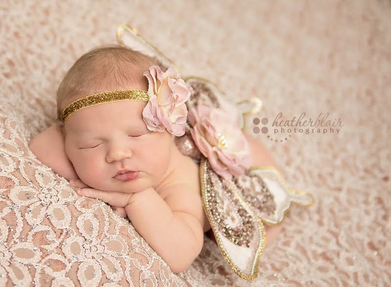 newborn beaded butterfly wings with headband gold dusty rose sparkle amazing photo prop