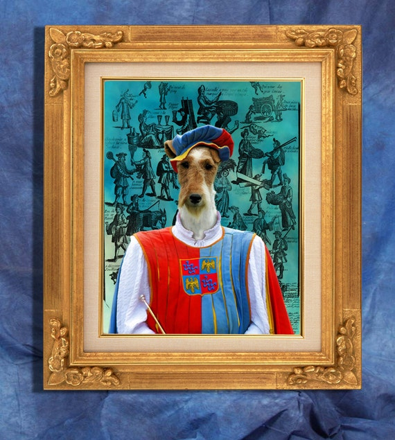 Fox Terrier Wire Art Print 11 x 14 inch original illustration artwork giclee archival premium poster print By Nobility Dogs