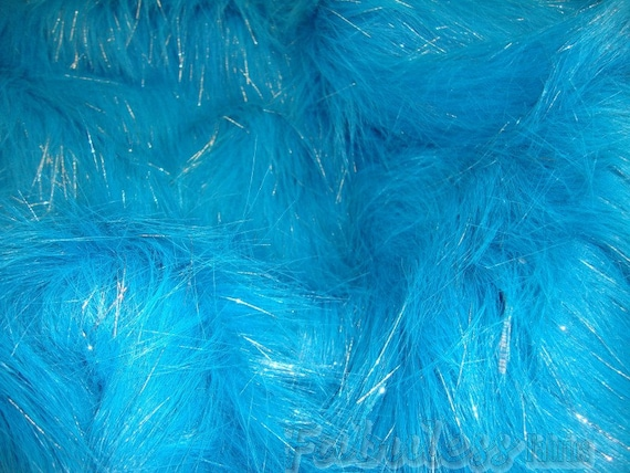 turquoise sparkle faux fur fabric per yard 60 wide