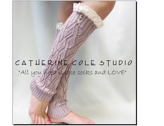 NEW MAUVE Open crochet knit leg warmers  / womens leaf knit pattern  great with cowboy boots by Catherine Cole Studio legwarmers