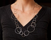 Gold and Silver Link Necklace. Organic shaped hand hammered links with natural texture.Spring Fashion