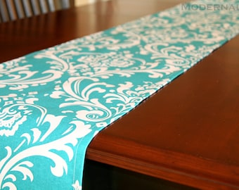 CLEARANCE Damask Table Runner, Turquoise Ozborne Dining Room Decor, Wedding Decoration, Table Linens, Turquoise Table Runner, Buffet Runner