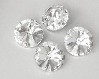 4-16mm Rivoli Glass Rhinestones, Silver Foiled Backs