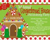 Gingerbread House Party Invitations Green and Red Dots Customizable Printable
