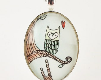 Owl Necklace, Watercolor Owl Painting Jewelry, Woodland Art Pendant
