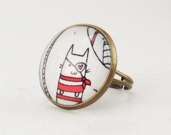 Kawaii Kitty Cat Pirate Ring, Cute Adjustable Art Ring .