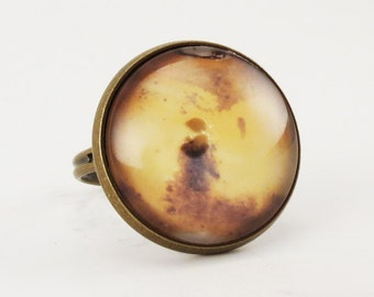 Planet Mars Ring, Cosmic Galaxy Adjustable Ring Jewelry
