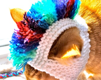 Mohawk Cat Hat - White and Tie Dye - Hand Knit Cat Costume