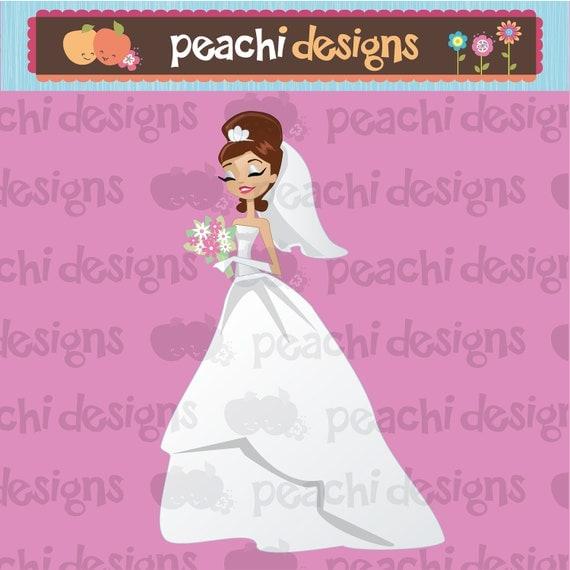Brunette Hair Bride Character Illustration Clipart
