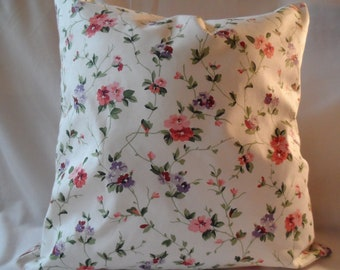Decorative Laura Ashley Floral and Plaid Fabric ,Reversible  Pillow Cover 18 x 18