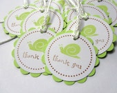 Baby Shower Favor Tags - Handmade - Gift Tags, Thank you Tags - Set of 12 - Snail