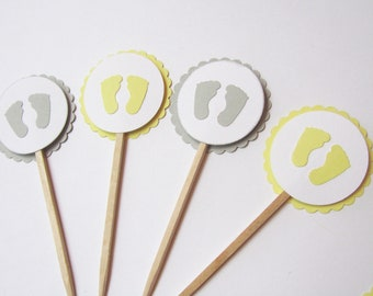 Baby Shower Cupcake Toppers - Baby Feet, Yellow - Handmade  - Shower Decorations - Set of 12