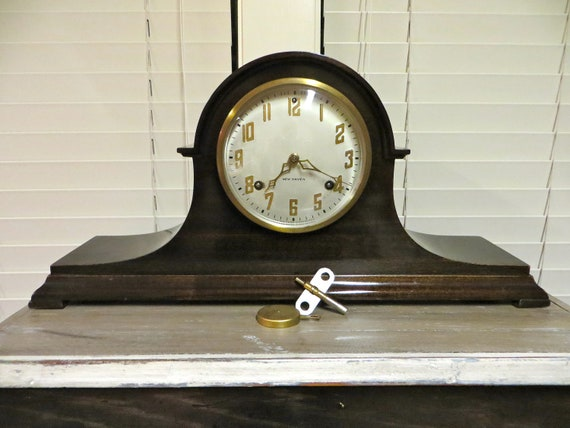 New Haven Tambour Mantel Clock Mahogany by ...