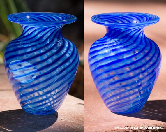 Discounted Hand Blown Glass Vase - Lapis Blue and Turquoise Twist