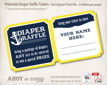 INSTANT DOWNLOAD, Printable Baby Shower Diaper Raffle Tickets, 4x6, Digital File, Navy & Yellow, Ahoy, Nautical, Anchor, Aquatic