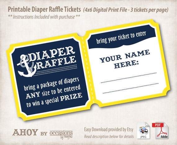 baby shower diaper raffle tickets 4x6 digital file navy yellow