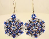 Beaded Mandala Earrings, Cobalt Blue, Pale Blue, and Purple, Bead Woven Circular Earrings, Seed Bead Earrings, Glass Earrings