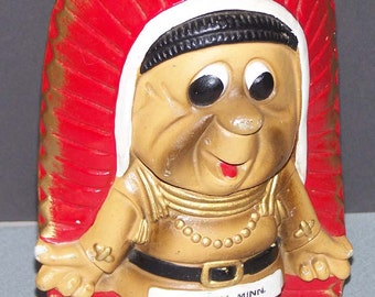 Vintage Indian Chief Souvenir Piggy Bank (Perham, Minn)