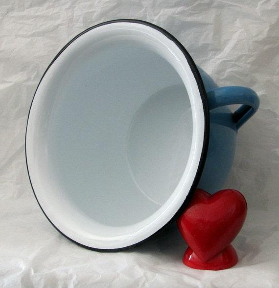 Vintage Enamel Bowl with Handle - Made in Yugoslavia - Nice Baby Blue