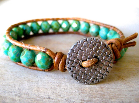 Boho single leather wrap, green turquoise, opaque picasso, sea green, rustic handmade button, beachy chic leather wrap