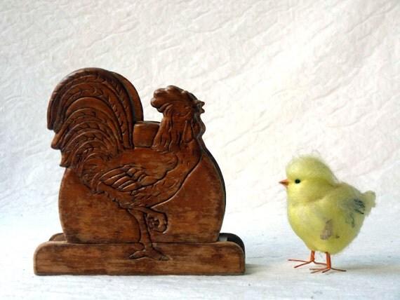Vintage Wooden Rooster Napkin holder