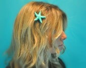 Starfish Hair Clip Tiffany Blue Sparkle Glitter Starfish Hair Clip  Become a Mermaid or Just Look Like One :)