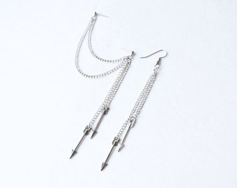 Dangling Silver Arrows Double Pierce Cartilage Earring (Pair)