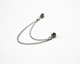 Silver Rose Double Pierce Cartilage Earring (Single-Side)