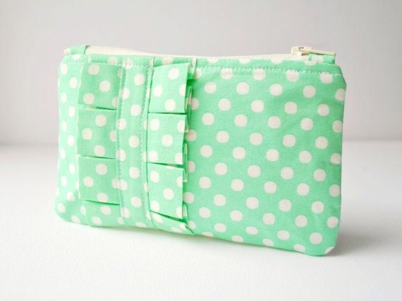 Coin purse wallet Polka dot spot in mint green and white with ruffle.